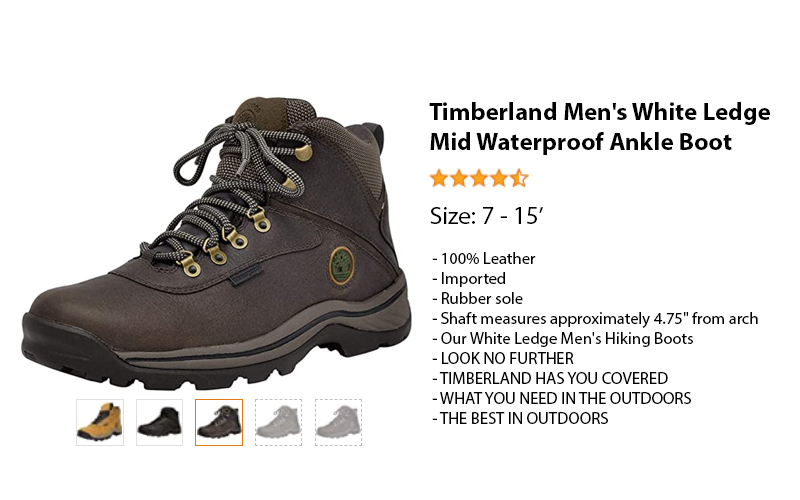 Timberland Men's White Ledge Mid Waterproof Ankle Boot suit for Diabetic