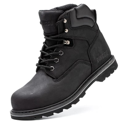 DINGGU Work Boots for Men Steel Toe: Best for quality soles